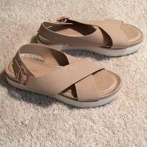Ladies tan low wedge slip on sandals, size 61/2